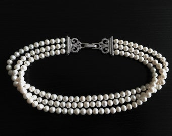 Pearl choker unique natural white freshwater pearls beads 3 lines 7mm fashion jewelry