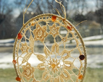 Crochet Suncatcher, Crocheted Window Decor, Home Decor Crocheted, Crochet Wall Decor, Rustic Cottage Decor, Mandala with Beads Crocheted