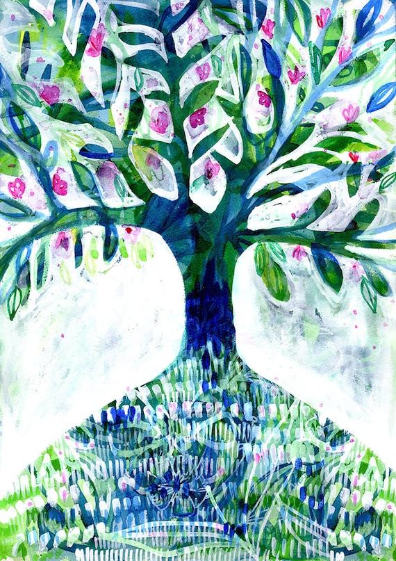 Blue Floral Tree Archival wall Art Print Illustration