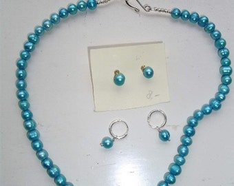 Turquoise set of freshwater pearls/ choker with earrings