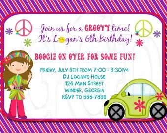 70's Groovy Hippy Birthday Invitation-Digital File