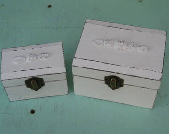 "Cream ""Shabby Chic"" Wooden Jewelry Box + Small One As A Gift"