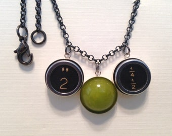 Typewriter Key Bakelite Cabochon Necklace