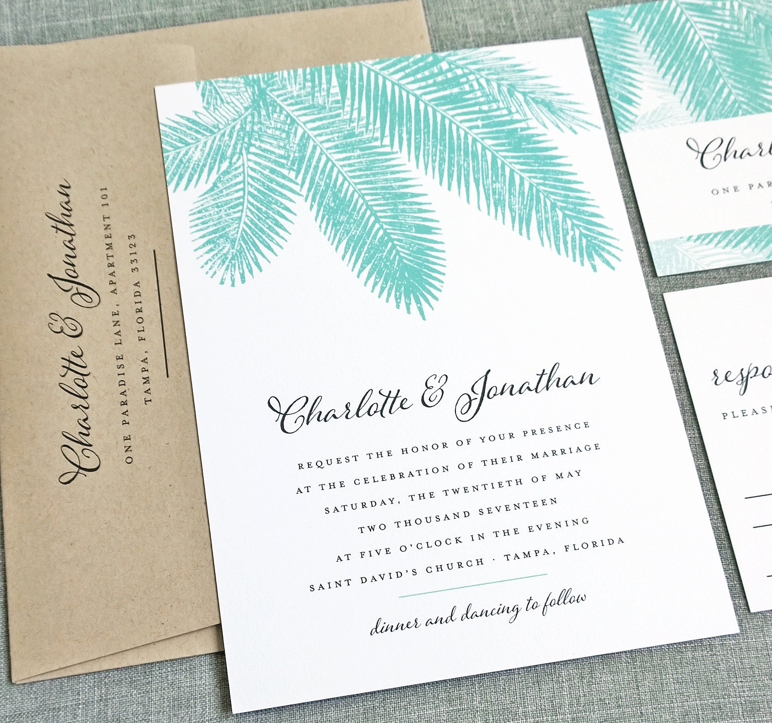 Beach Wedding Invitation Wording: Charlotte Teal Palm Tree Wedding Invitation Sample Beach