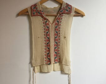 Vintage Hand Embroidered Yugoslavian Sheer Cotton Top