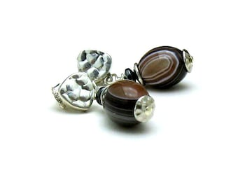 Banded Agate Sterling Silver  Stud  Earrings Luxe Flawless Stones Minimalist Post One of a Kind   Organic Gorgeous