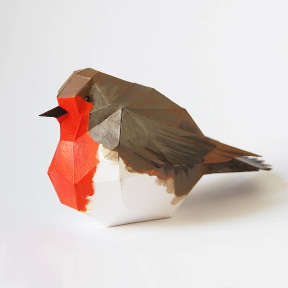 robin bird make a paper 3d bird decoration with this pdf download from ntanos on etsy studio