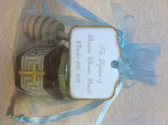 Greek Baby Baptism Favors With Personalized Tags And Dippers