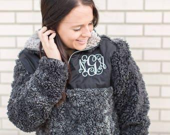Adult Monogram Sherpa Sale! Sherpa Sweatshirt Pre-Order / Fuzzy Quarter Zip Sherpa Sale / Monogram Sherpa / Fuzzy Monogram Sherpa