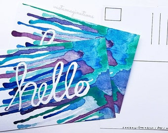 Hello Watercolor Postcard