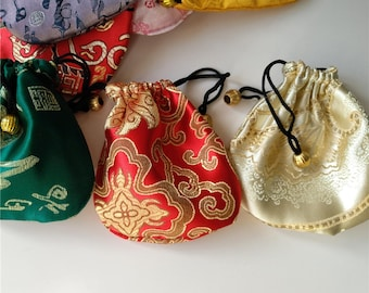 6 Colorful Chinese Silk Pouches Pocket Money Coins Bags Drawstring Grab Bag lot Traditional Packaging Bags for Jewelry Gifts