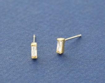 Tiny Baguette Stud Earrings - Gold CZ Stud Earrings - Rectangular Post Earrings - Minimalist Studs - Cartilage Earrings