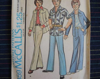 vintage 1970s McCalls sewing pattern 4459 Teen boys shirt jacket and pants size 16 chest 33 12/2