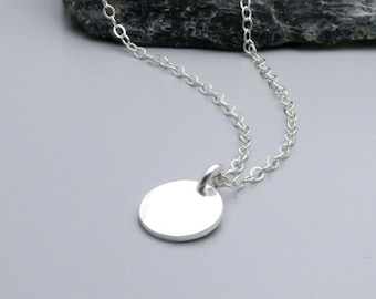 Dainty Silver Dot Necklace, Sterling Silver Hammered Disc Necklace, Layering Necklace