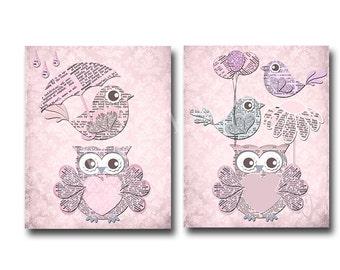 Art de mur crèche bébé fille, bébé douche cadeau pépinière classique enfants chambre décor bébé fille room decor, rose oiseau chouette pépinière enfants chambre décor