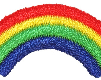 Lot of 3 Mini-Rainbows Colorful Sky Light Arc Embroidered Iron On Applique Patch