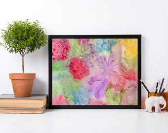 Flower Patch - Abstract Floral Watercolor Painting - Art Print