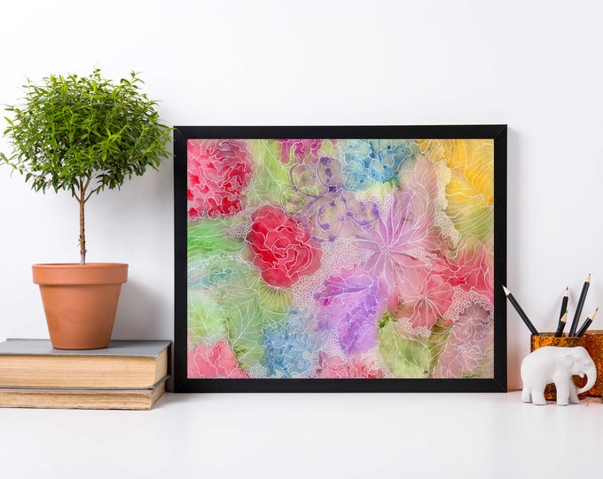 Featured listing image: Flower Patch - Abstract Floral Watercolor Painting - Art Print