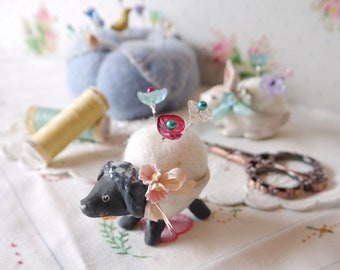Little Black Sheep Sculpture, Pin Cushion, Handmade from Ceramic Porcelain Clay
