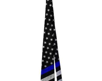 Thin Blue Line American Flag (Sublimation Necktie)
