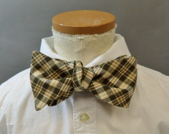 """Bow Tie. Young Adult / Teen. Self Tie / Adjustable. Brown Plaid. Cotton. Fits Up to 14"""" Neckband."""