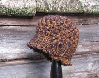 Womens Crochet Hat, Ladies Handmade Crochet Cloche Hat in 1930s style