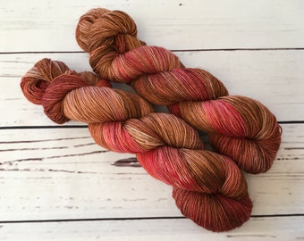 Rosewood Hand Dyed Superwash BFL/ Nylon Sock Yarn