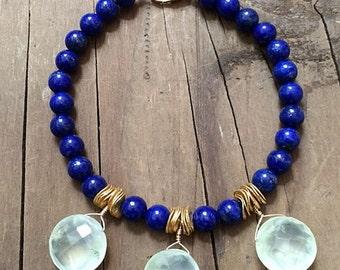 Lapis Bracelet / Prehnite Bracelet / Bohemian Bracelet / Gemstone Bracelet