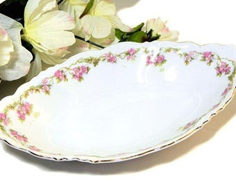 MZ Austria Habsburg China Pink Floral Oval Relish Small Serving Bowl