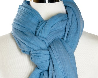 Hand dyed Cotton Scarf - 24 X 84 -  Cotton Scarf - Cotton Double Gauze Scarf - Wide Scarf - Long Scarf - Blue Scarf - Chunky Scarf