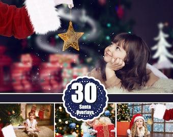 30 Santa Hand, Photoshop overlay, Christmas holiday winter overlay, reindeer, deer, snow, bokeh, magic light shine art text, png file
