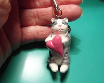 Little grey cat - Keychain - hand molded of cold porcelain