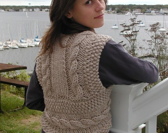 Bulky Cable Vest, knitted in one piece, quick and easy.  pdf knitting pattern