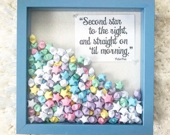 Light Blue Framed Shadow Box/Origami Stars/Baby Shower Gift/Baby Room Decor/Nursery Decor/Peter Pan Quotes