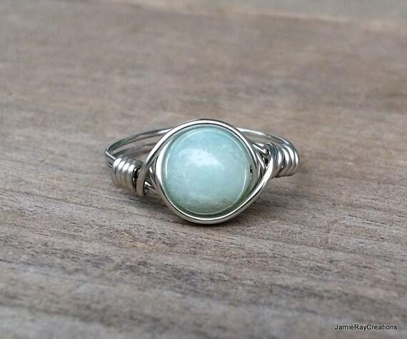 Amazonit Ring Silber Draht umwickelt grüne