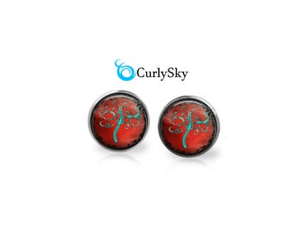 Red Tree of Life Studs, Tree of life blue studs earring Blue and red studs Whimsical tree studs Red and blue stud earrings Curly tree studs