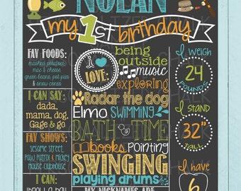 Fishing Theme Birthday Chalkboard Poster | Birthday Board | Gone Fishing | Fish | Outdoor Birthday | Boy or Girl | *DIGITAL FILE*