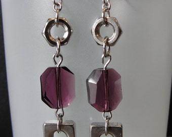 Purple Amethyst Swarovski Crystal Earrings with Industrial Hardware Hex & Square Nuts, Repurposed Upcycled, Found Object, Swarovski Jewelry