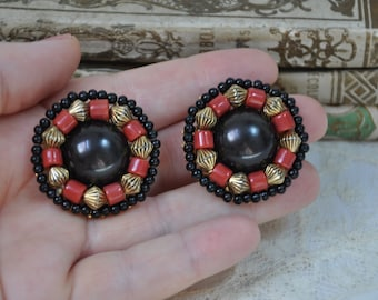 Vintage French 1980s Clip on Earrings, Extra Large Earrings, Statement Earrings, 1980s Earrings, Red Black Gold Costume Jewelry