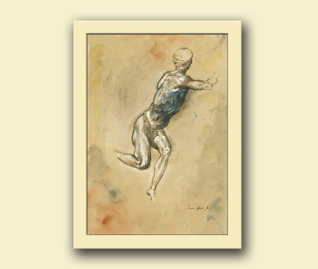 Man figure naked man figure classical style drawing