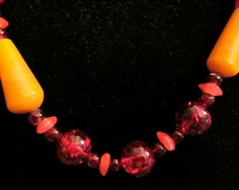 Vintage Long and Chunky Red Glass Bead Necklace 29 inches