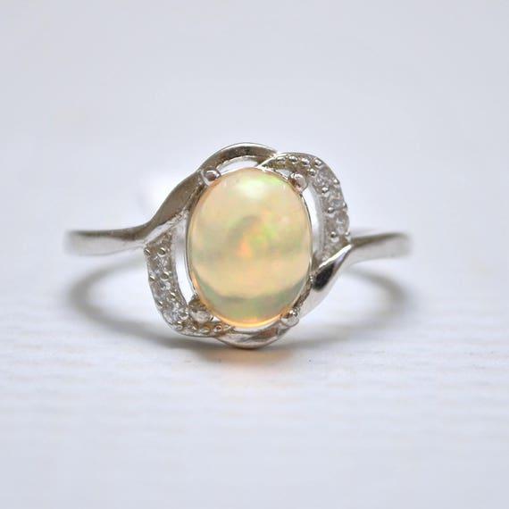Sterling Silver Opal  Ring Sz 8 #10021