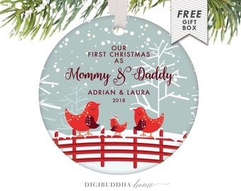 New Mommy and Daddy Birds Christmas Ornament, Personalized Gift for New Mommy and Daddy, First Christmas as a Family 2018 Christmas Ornament