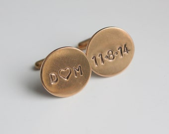 Personalized Rose Gold Cuff Links Cufflinks- Custom Initials and Date for Groom or Groomsmen Dad or Grandfather