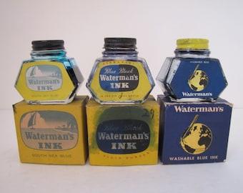 1940s Waterman's Ink Glass Bottles