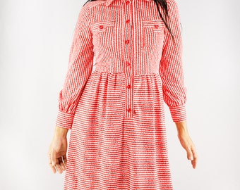 SALE Vintage Dress   70s Japanese Shirt Dress   Red x White Striped Dress   Long Sleeve Dress   Collared Shirt Dress    Mod Dress   XS