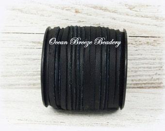 3mm Flat Leather Lace . Black . Super Soft Deerskin Lace . 6 feet or 9 feet . Great Tassel Leather