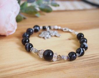 BandedAgate Rosary Bracelet, Religious Gift, Christian bracelet jewelry, Catholic One decade Rosary
