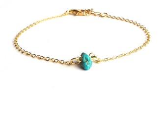 Gold Turquoise Bracelet, Delicate Gold Bracelet, Thin Gold Bracelet, Everyday Bracelet, Dainty Gold Bracelet, Simple Gold Bracelet