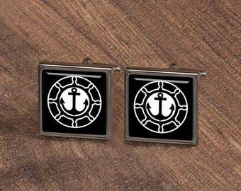 Anchor cufflinks, Nautical Cufflinks, keepsake gift, Groom Groomsmen cufflinks, Personalized silver square cufflinks, tie clips